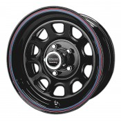15 x 7 ET+0 AR767 in Gloss Black Red and Blue Stripe
