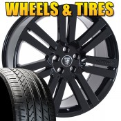 "22"" Cambridge Gloss Black - Wheel & Tire Package - Fits Land Rover"